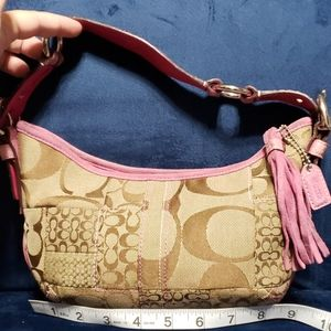 Coach pink tan handbag snakeskin and suede trim